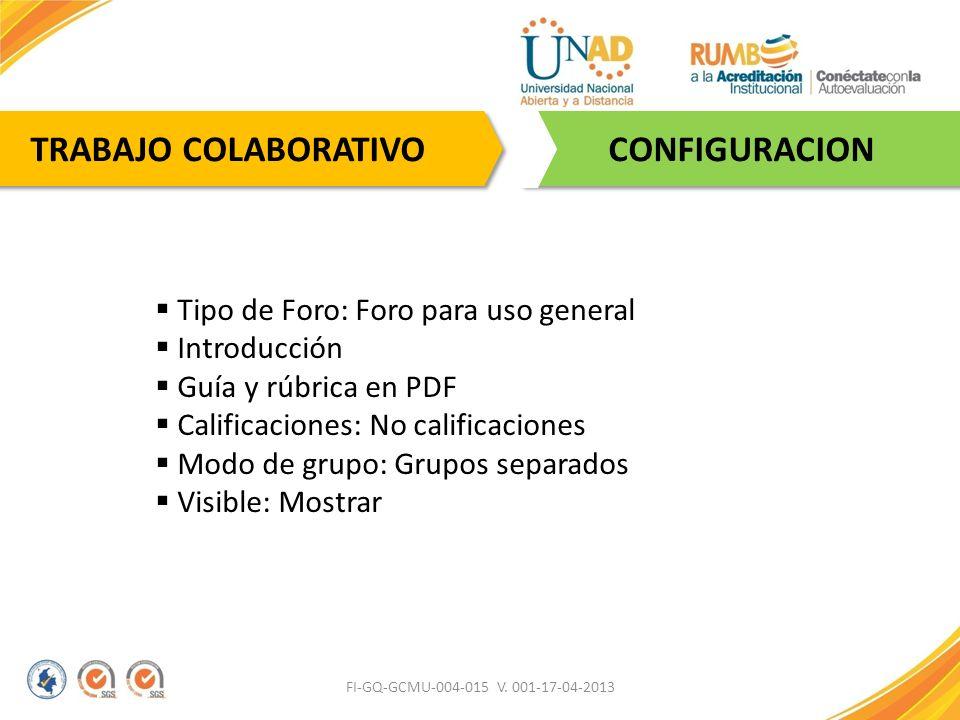 FI-GQ-GCMU-004-015 V. 001-17-04-2013 CONFIGURACION TRABAJO COLABORATIVO Tipo de Foro: Foro para uso general Introducción Guía y rúbrica en PDF Calific