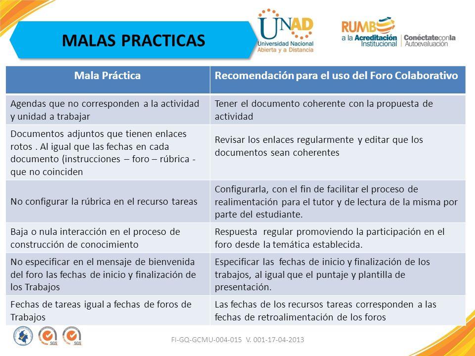 FI-GQ-GCMU-004-015 V. 001-17-04-2013 MALAS PRACTICAS Mala PrácticaRecomendación para el uso del Foro Colaborativo Agendas que no corresponden a la act