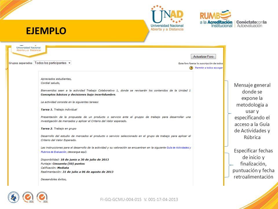 FI-GQ-GCMU-004-015 V. 001-17-04-2013 Especificar fechas de inicio y finalización, puntuación y fecha retroalimentación Mensaje general donde se expone