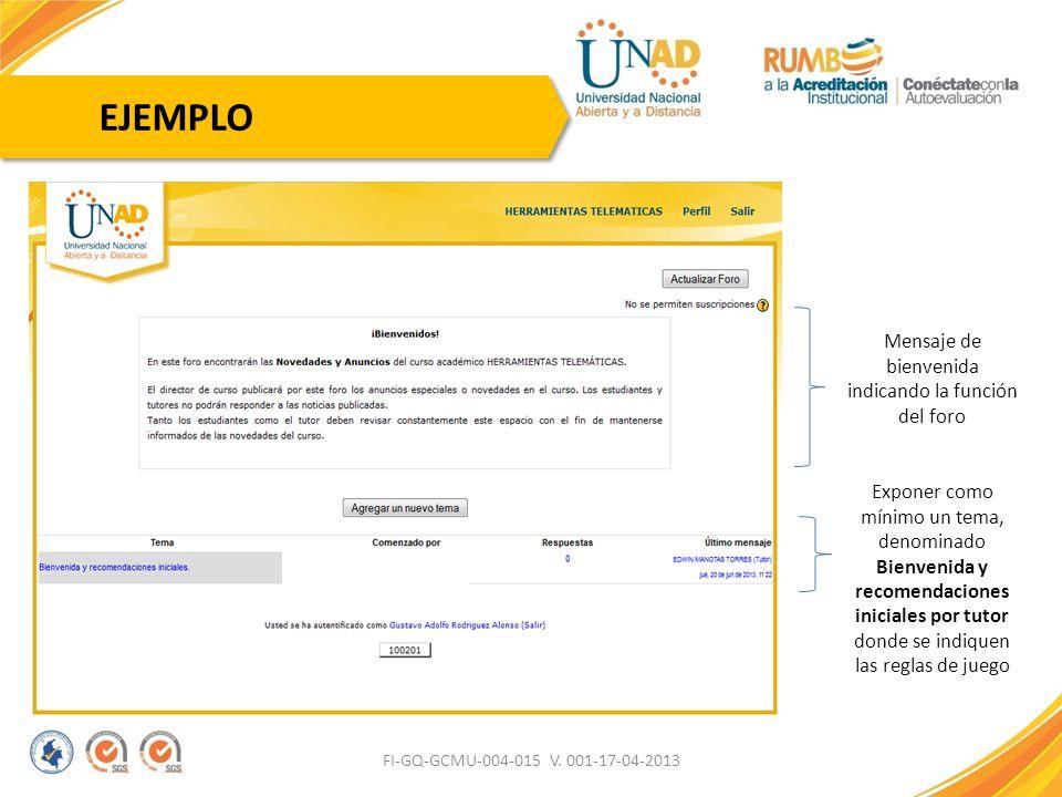 FI-GQ-GCMU-004-015 V. 001-17-04-2013 EJEMPLO Mensaje de bienvenida indicando la función del foro Exponer como mínimo un tema, denominado Bienvenida y