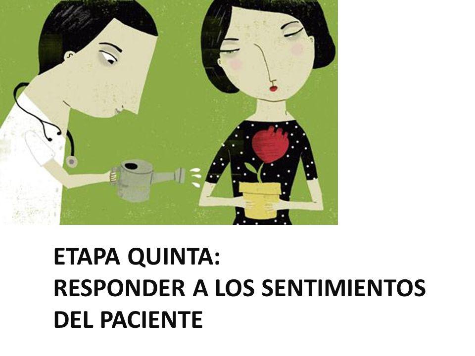 ETAPA QUINTA: RESPONDER A LOS SENTIMIENTOS DEL PACIENTE