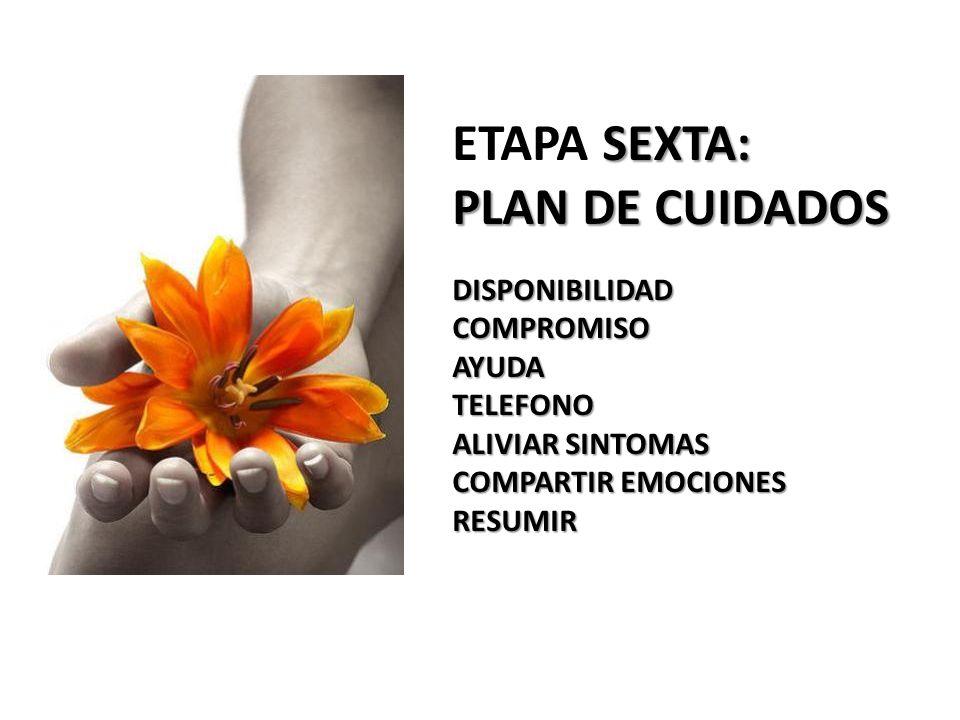 SEXTA: ETAPA SEXTA: PLAN DE CUIDADOS DISPONIBILIDADCOMPROMISOAYUDATELEFONO ALIVIAR SINTOMAS COMPARTIR EMOCIONES RESUMIR
