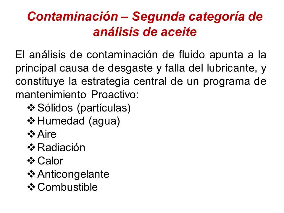 Contaminación – Segunda categoría de análisis de aceite El análisis de contaminación de fluido apunta a la principal causa de desgaste y falla del lub