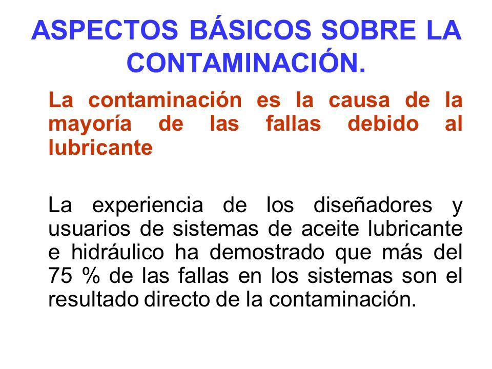 ASPECTOS BÁSICOS SOBRE LA CONTAMINACIÓN. La contaminación es la causa de la mayoría de las fallas debido al lubricante: La experiencia de los diseñado
