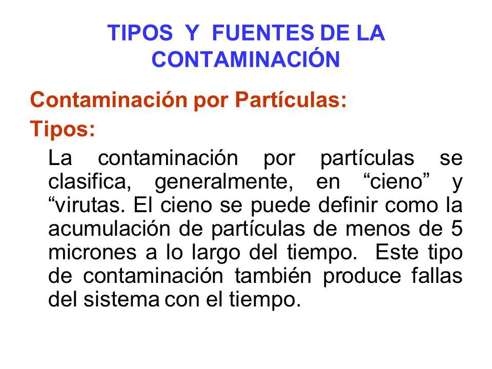 TIPOS Y FUENTES DE LA CONTAMINACIÓN Contaminación por Partículas: Tipos: La contaminación por partículas se clasifica, generalmente, en cieno y viruta