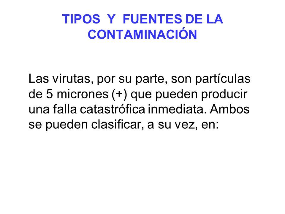 TIPOS Y FUENTES DE LA CONTAMINACIÓN Las virutas, por su parte, son partículas de 5 micrones (+) que pueden producir una falla catastrófica inmediata.