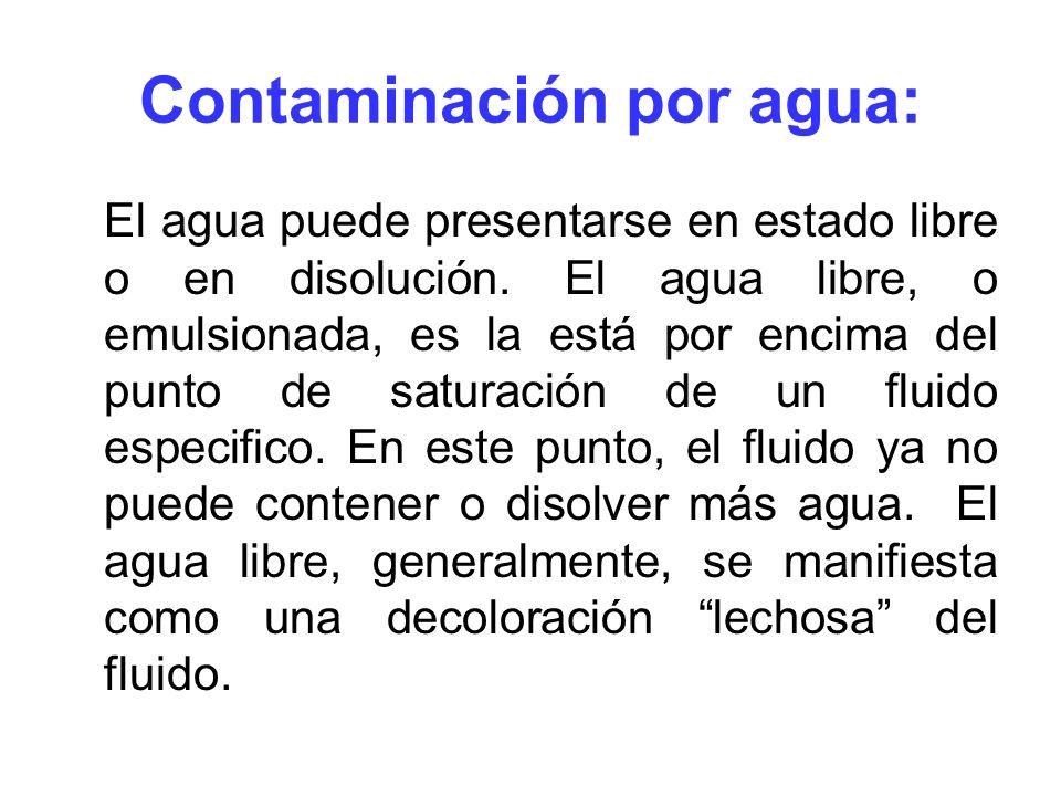 Contaminación por agua: El agua puede presentarse en estado libre o en disolución. El agua libre, o emulsionada, es la está por encima del punto de sa