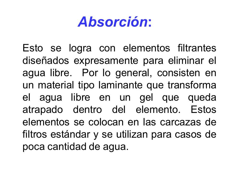 Absorción: Esto se logra con elementos filtrantes diseñados expresamente para eliminar el agua libre. Por lo general, consisten en un material tipo la