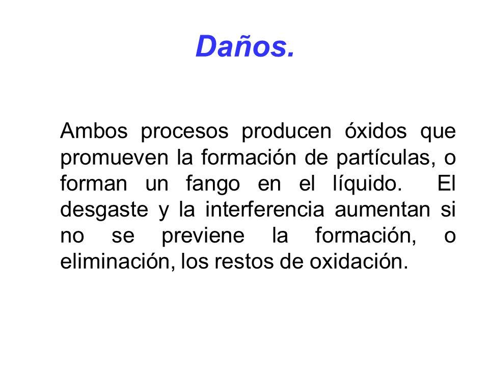 Daños. Ambos procesos producen óxidos que promueven la formación de partículas, o forman un fango en el líquido. El desgaste y la interferencia aument