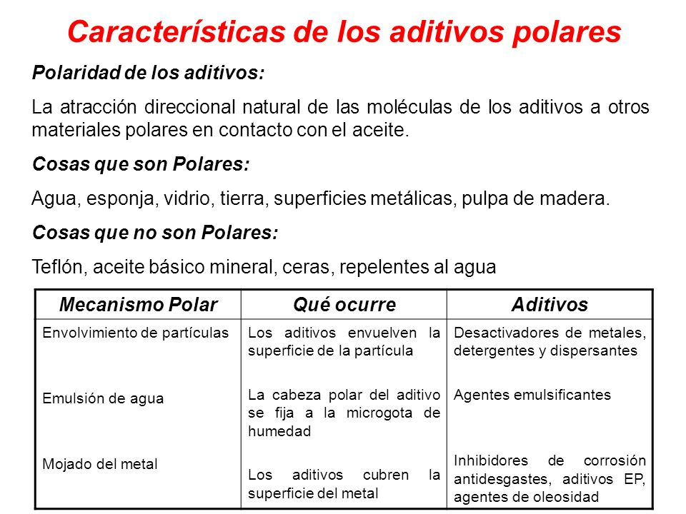 Características de los aditivos polares Polaridad de los aditivos: La atracción direccional natural de las moléculas de los aditivos a otros materiale