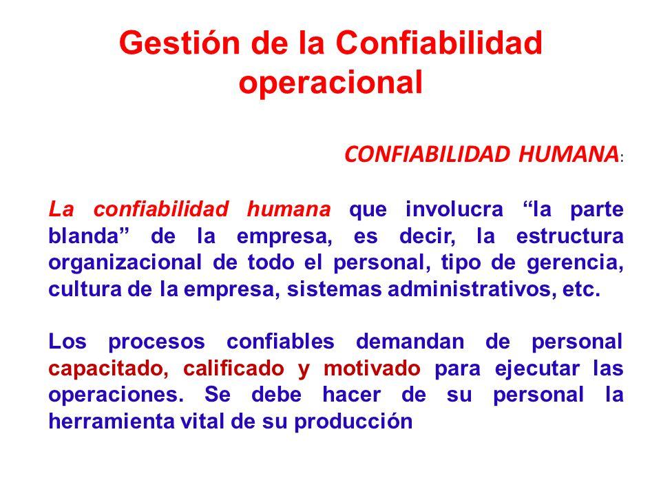 Gestión de la Confiabilidad operacional CONFIABILIDAD HUMANA : La confiabilidad humana que involucra la parte blanda de la empresa, es decir, la estru