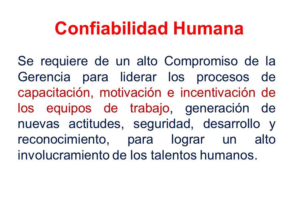 Confiabilidad Humana Se requiere de un alto Compromiso de la Gerencia para liderar los procesos de capacitación, motivación e incentivación de los equ