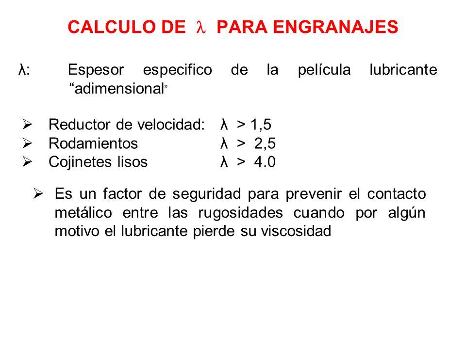 CALCULO DE PARA ENGRANAJES λ: Espesor especifico de la película lubricante adimensional Reductor de velocidad: λ > 1,5 Rodamientos λ > 2,5 Cojinetes l