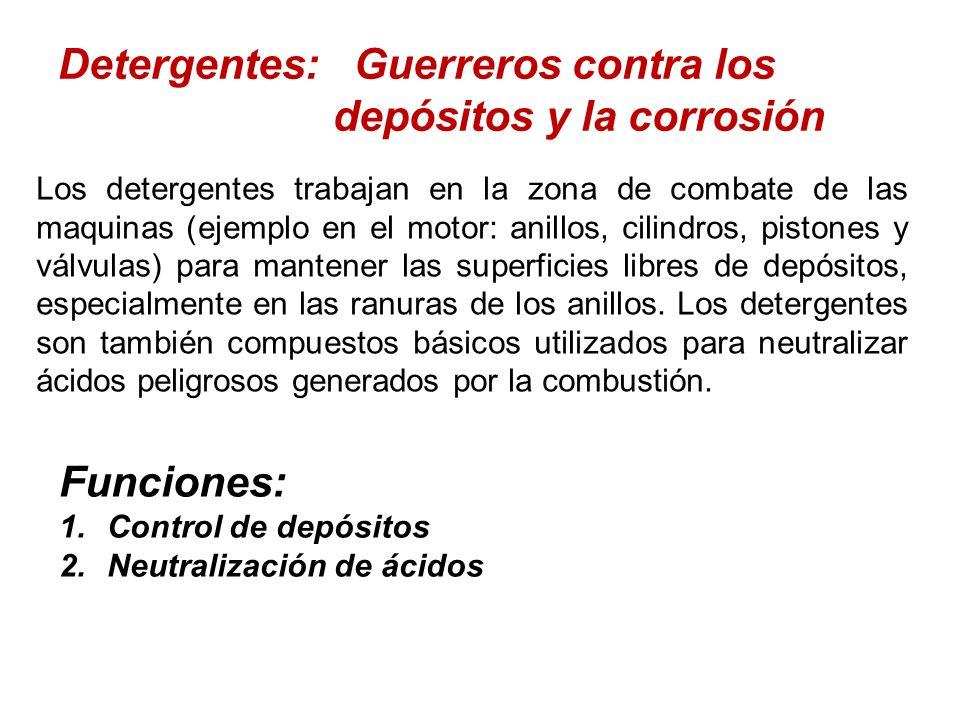 Detergentes: Guerreros contra los depósitos y la corrosión Los detergentes trabajan en la zona de combate de las maquinas (ejemplo en el motor: anillo