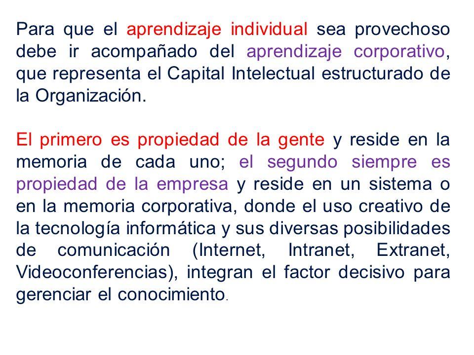 Para que el aprendizaje individual sea provechoso debe ir acompañado del aprendizaje corporativo, que representa el Capital Intelectual estructurado d