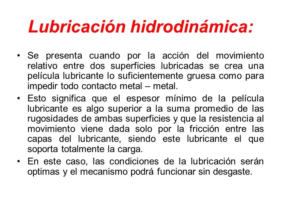 Lubricación hidrodinámica: Se presenta cuando por la acción del movimiento relativo entre dos superficies lubricadas se crea una película lubricante l