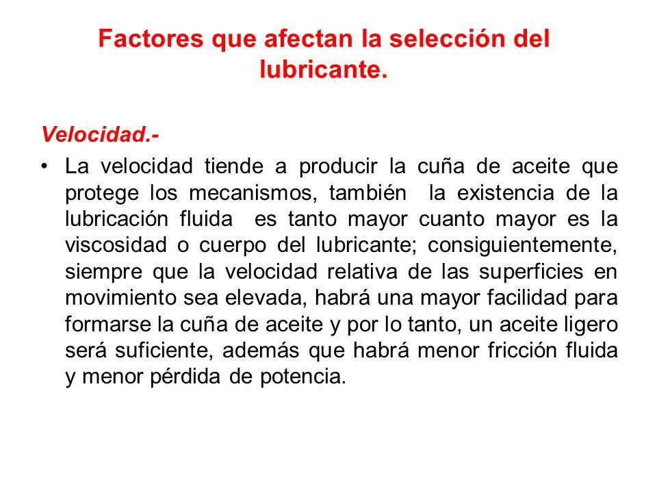 Factores que afectan la selección del lubricante. Velocidad.- La velocidad tiende a producir la cuña de aceite que protege los mecanismos, también la