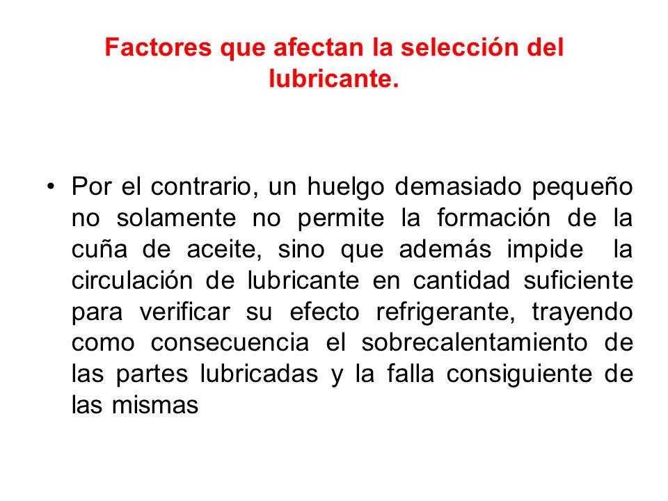 Factores que afectan la selección del lubricante. Por el contrario, un huelgo demasiado pequeño no solamente no permite la formación de la cuña de ace