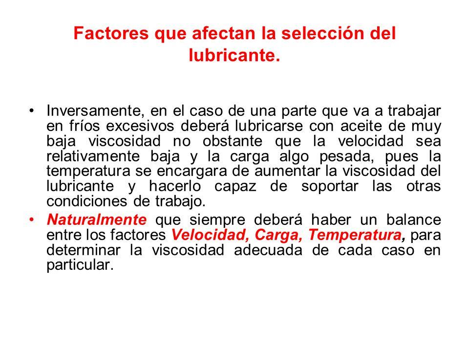 Factores que afectan la selección del lubricante. Inversamente, en el caso de una parte que va a trabajar en fríos excesivos deberá lubricarse con ace