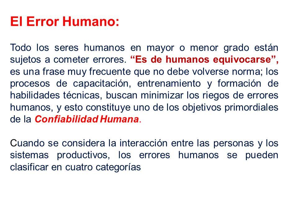 El Error Humano: Todo los seres humanos en mayor o menor grado están sujetos a cometer errores. Es de humanos equivocarse, es una frase muy frecuente