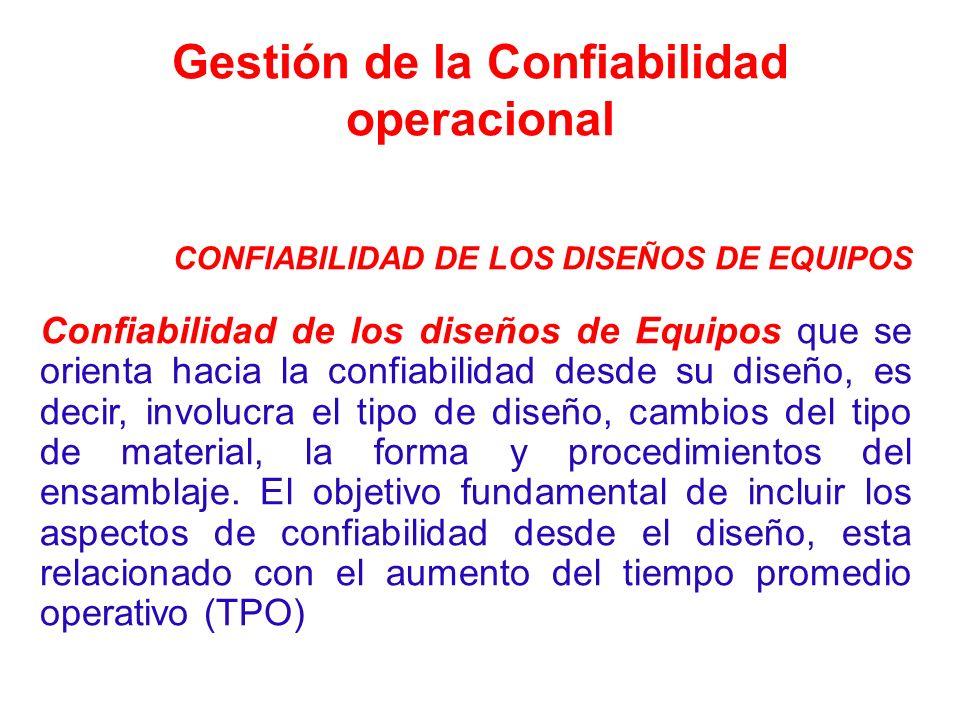 Gestión de la Confiabilidad operacional CONFIABILIDAD DE LOS DISEÑOS DE EQUIPOS Confiabilidad de los diseños de Equipos que se orienta hacia la confia