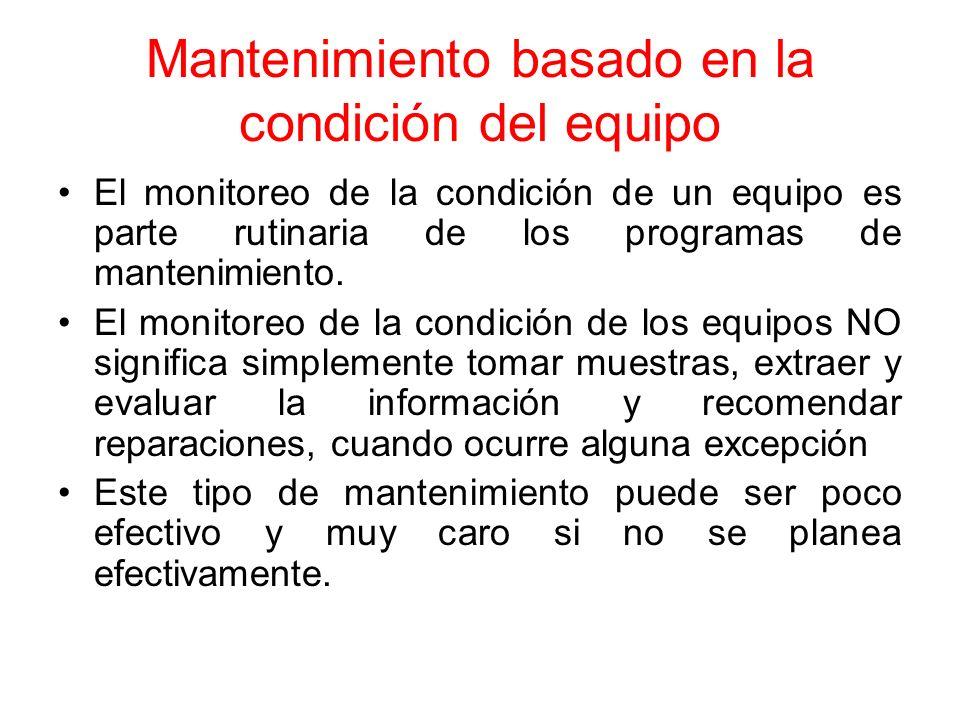 Mantenimiento basado en la condición del equipo El monitoreo de la condición de un equipo es parte rutinaria de los programas de mantenimiento. El mon