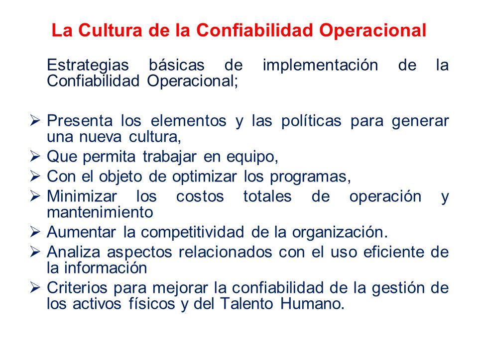 La Cultura de la Confiabilidad Operacional Estrategias básicas de implementación de la Confiabilidad Operacional; Presenta los elementos y las polític