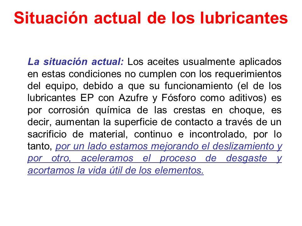 Situación actual de los lubricantes La situación actual: Los aceites usualmente aplicados en estas condiciones no cumplen con los requerimientos del e