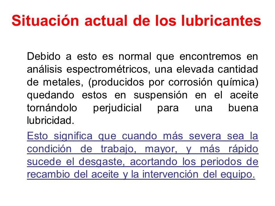 Situación actual de los lubricantes Debido a esto es normal que encontremos en análisis espectrométricos, una elevada cantidad de metales, (producidos