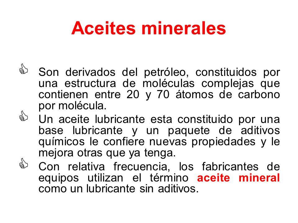 Aceites minerales Son derivados del petróleo, constituidos por una estructura de moléculas complejas que contienen entre 20 y 70 átomos de carbono por