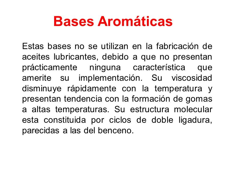 Bases Aromáticas Estas bases no se utilizan en la fabricación de aceites lubricantes, debido a que no presentan prácticamente ninguna característica q