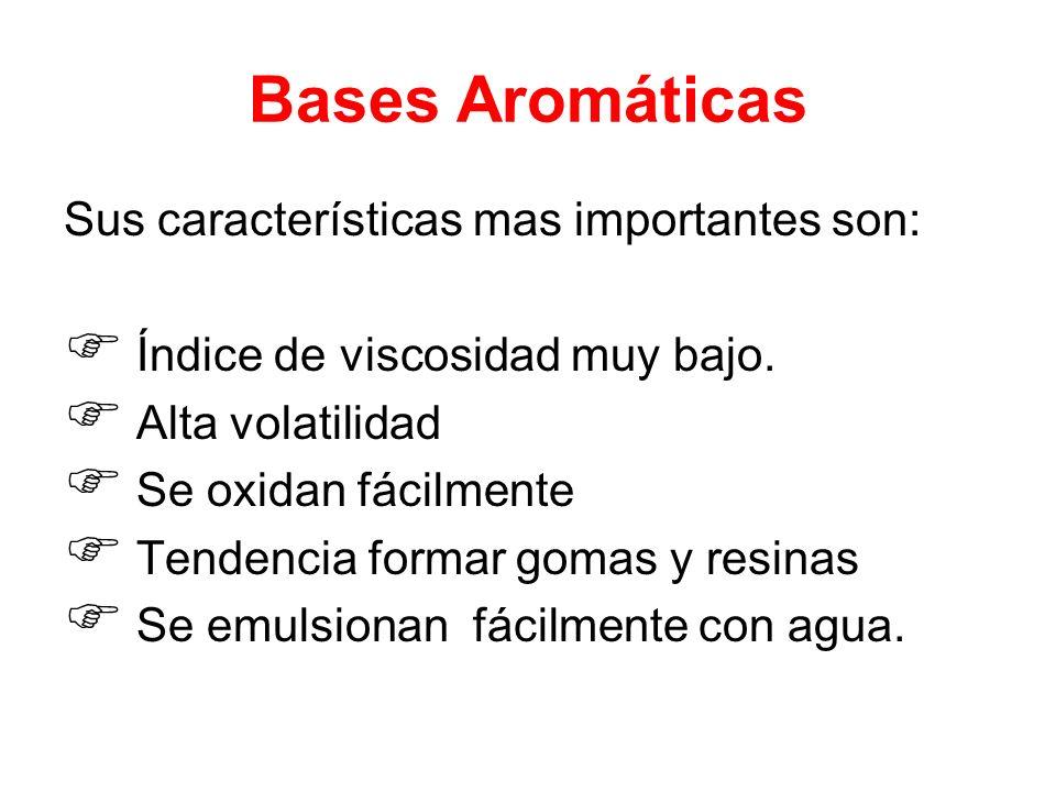 Bases Aromáticas Sus características mas importantes son: Índice de viscosidad muy bajo. Alta volatilidad Se oxidan fácilmente Tendencia formar gomas