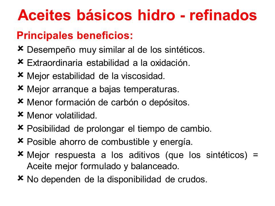 Aceites básicos hidro - refinados Principales beneficios: Desempeño muy similar al de los sintéticos. Extraordinaria estabilidad a la oxidación. Mejor