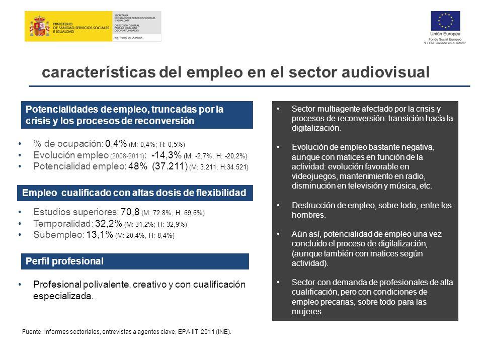 Potencialidades de empleo, truncadas por la crisis y los procesos de reconversión Empleo cualificado con altas dosis de flexibilidad Profesional poliv