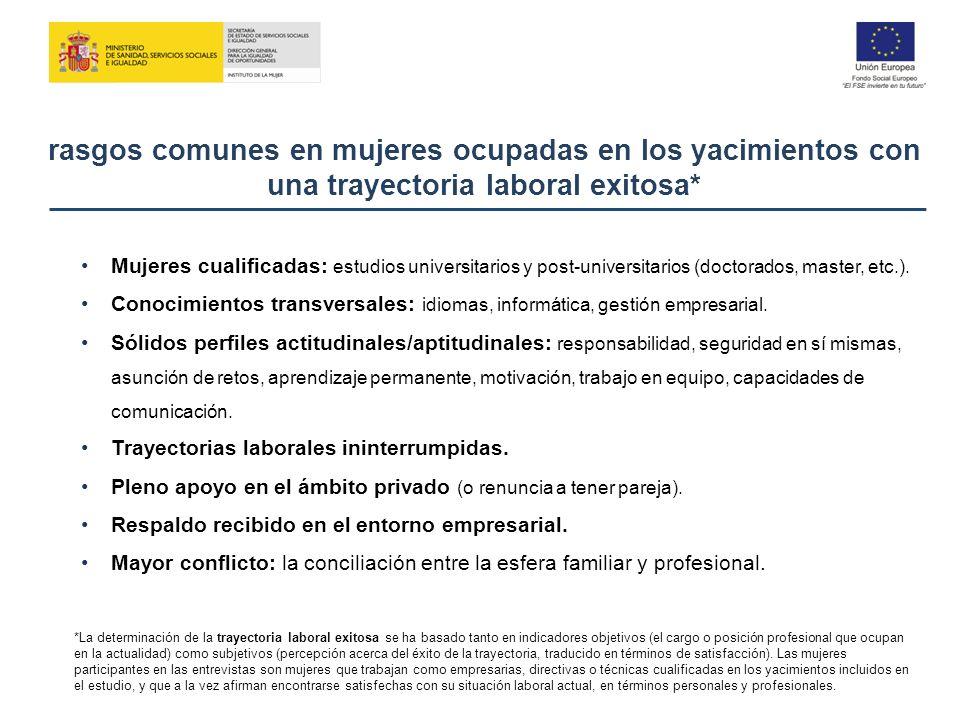 rasgos comunes en mujeres ocupadas en los yacimientos con una trayectoria laboral exitosa* Mujeres cualificadas: estudios universitarios y post-univer