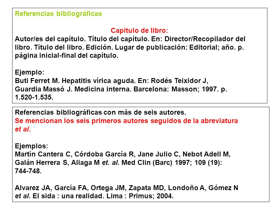 Referencias bibliográficas Artículos de periódicos Autor del artículo (si figurase).