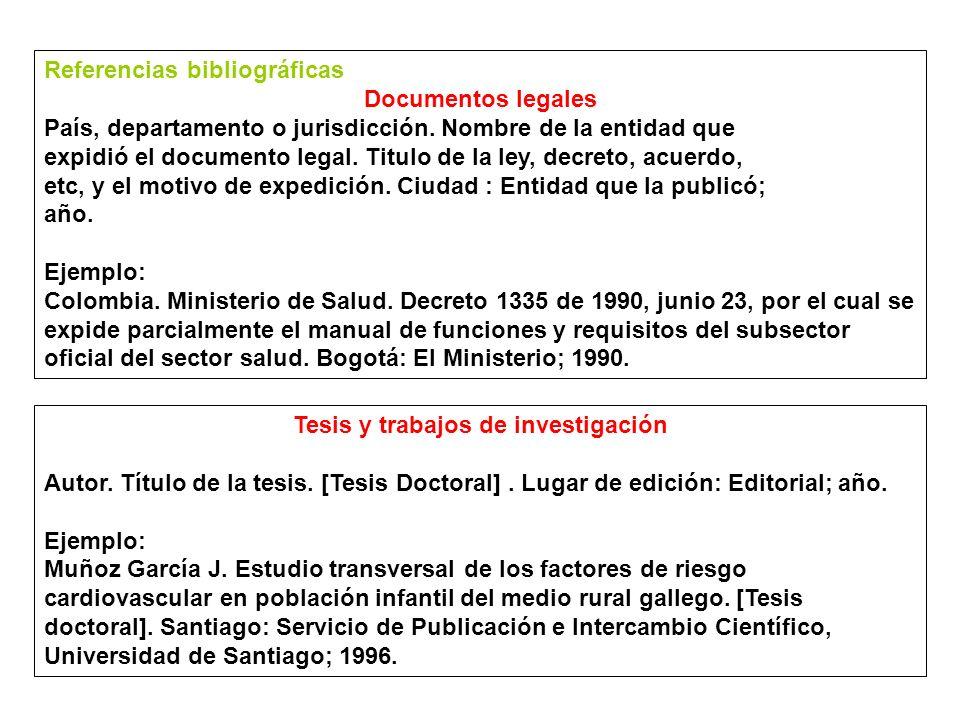 Referencias bibliográficas Documentos legales País, departamento o jurisdicción.
