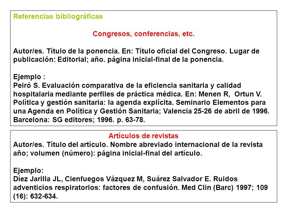 Referencias bibliográficas Material audiovisual Autor/es.