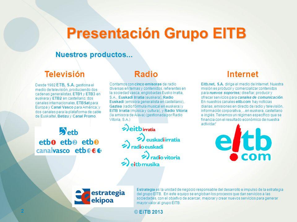 2 © EiTB 2013 Presentación Grupo EITB TelevisiónRadioInternet Desde 1982 ETB, S.A. gestiona el medio de televisión, produciendo dos cadenas generalist