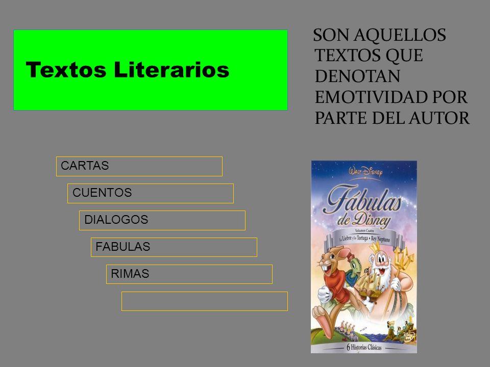 Tipos de textos literarios Textos Literarios Textos no Literarios Los Textos literarios son aquellos narraciones en que el autor expresa emotividad de
