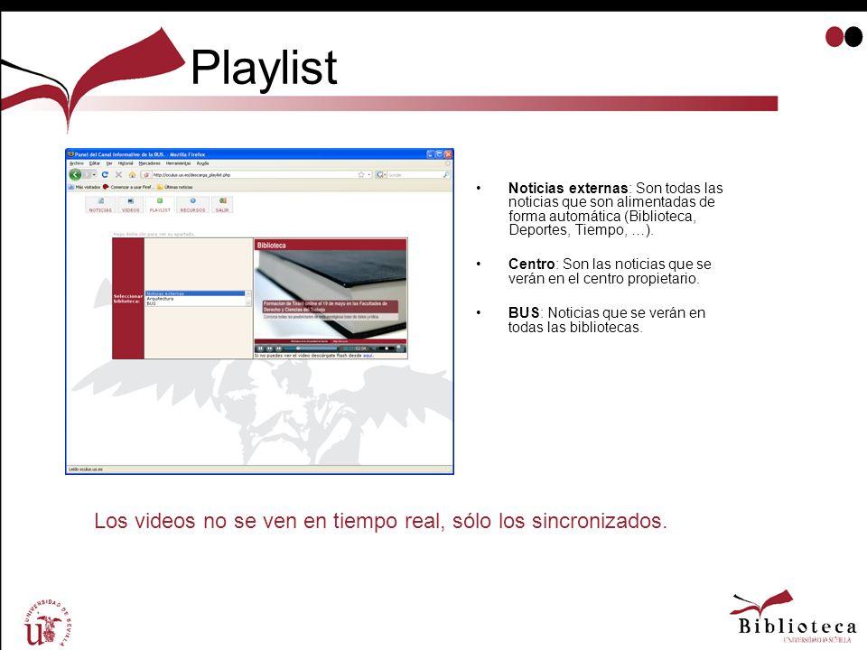 Playlist Noticias externas: Son todas las noticias que son alimentadas de forma automática (Biblioteca, Deportes, Tiempo, …). Centro: Son las noticias
