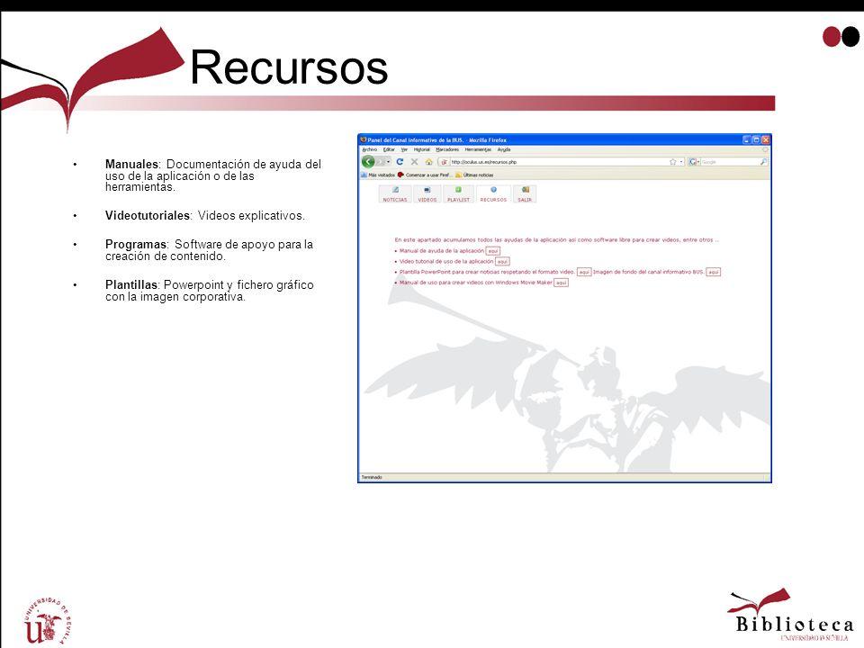 Recursos Manuales: Documentación de ayuda del uso de la aplicación o de las herramientas. Videotutoriales: Videos explicativos. Programas: Software de