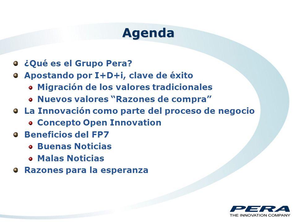 Beneficios I+D+i en las empresas (FP7) Alfredo Sánchez Country Manager Grupo PERA España