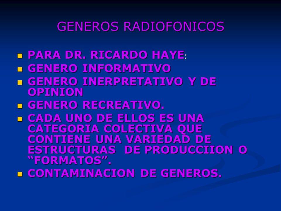 GENEROS RADIOFONICOS PARA DR.RICARDO HAYE : PARA DR.