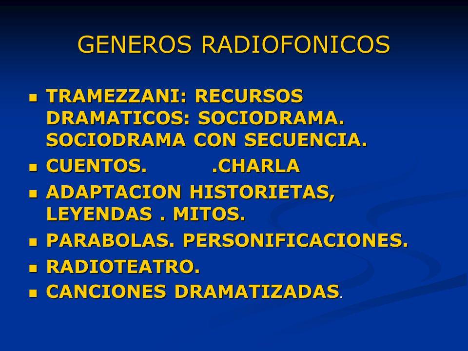 GENEROS RADIOFONICOS TRAMEZZANI: RECURSOS DRAMATICOS: SOCIODRAMA.