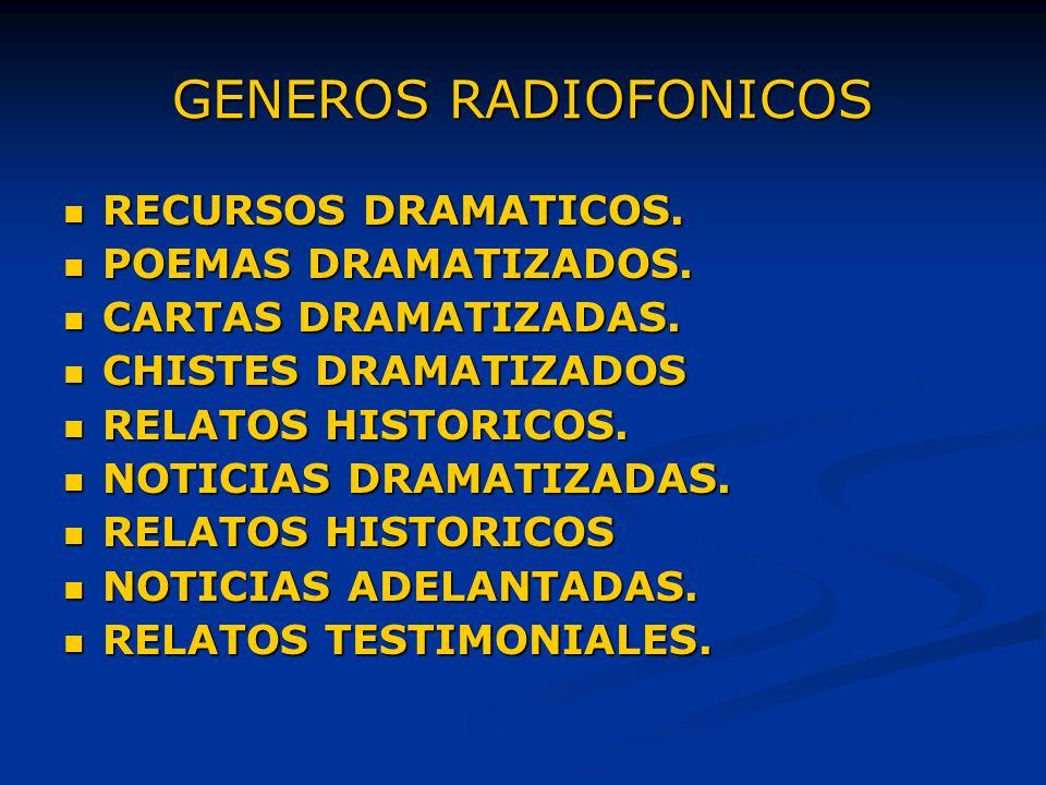 GENEROS RADIOFONICOS RECURSOS DRAMATICOS.RECURSOS DRAMATICOS.
