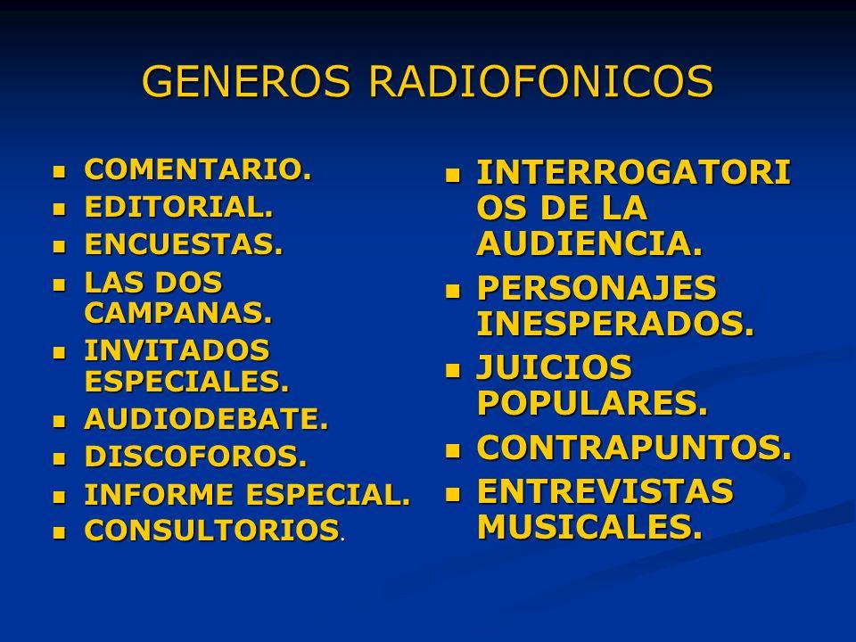 GENEROS RADIOFONICOS COMENTARIO.COMENTARIO. EDITORIAL.