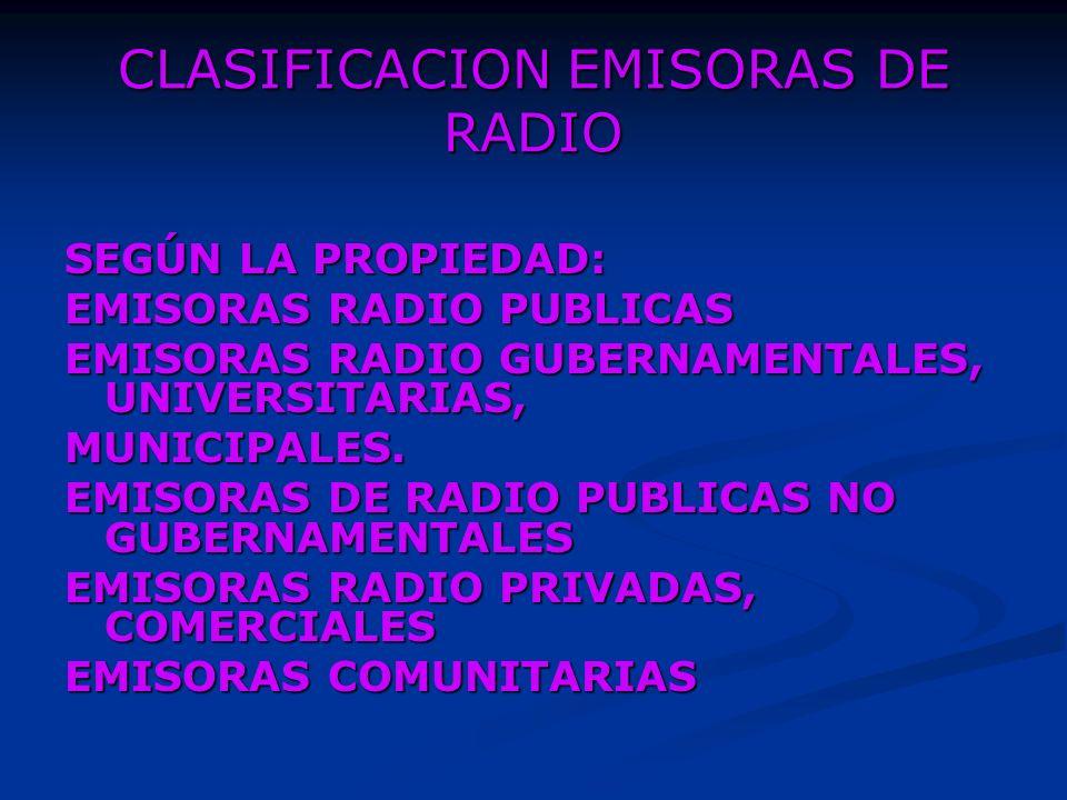 CLASIFICACION DE EMISORAS SEGÚN PROGRAMACION GENERALISTATEMATICA,ESPECIALIZADA.