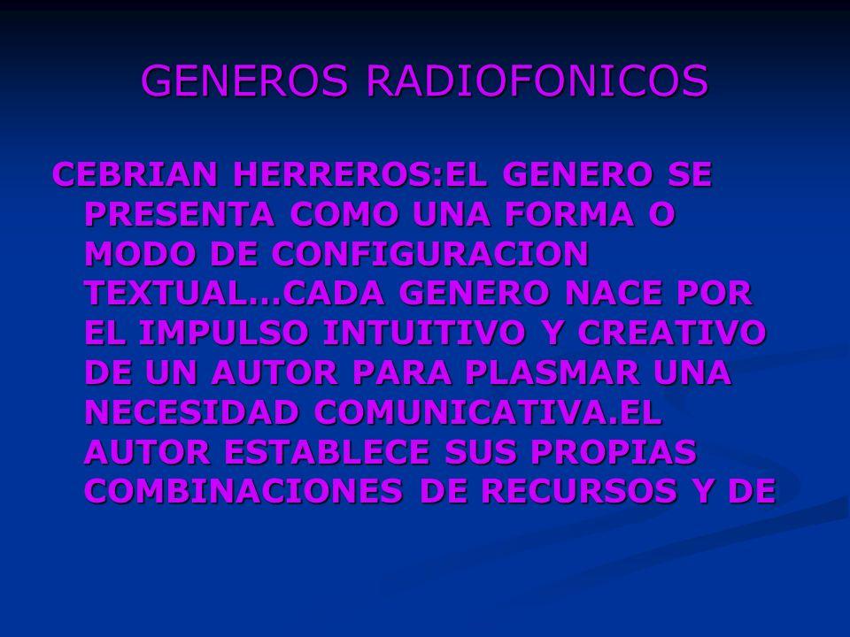 GENEROS RADIOFONICOS DE CODIGOS COMO RASGOS DISTINTIVOS DE SU TRABAJO.TAL COMBINACION PUEDE QUEDARSE COMO UNA CREACION MUY GENERAL DEL AUTOR O BIEN PUEDE SER REPETIDA POR OTROS CREADORES, EN CUYO CASO ES EL INICIO DE UNA NUEVA ESTRUCTURA GLOBAL, DE UN NEVO GENERO.