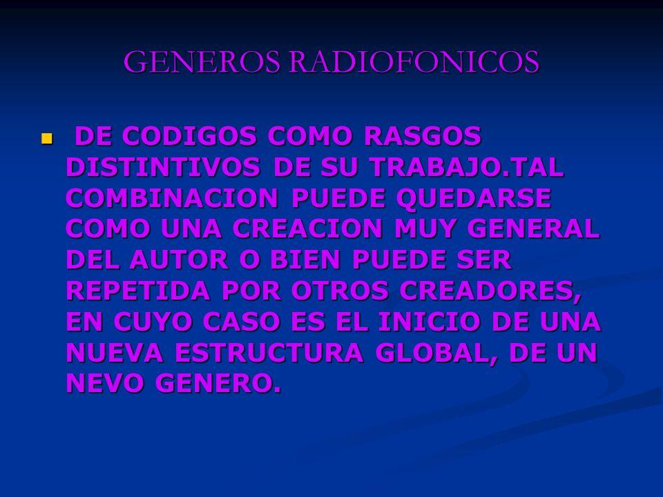 GENEROS RADIOFONICOS PARA HAYE, RESULTA FUNCIONAL ESTABLECER LA CORRESPONDENCIA ENTRE CONTENIDOS Y GENEROS.